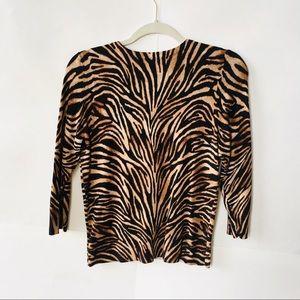 White House Black Market Sweaters - White House Black Market Animal Print Cardigan